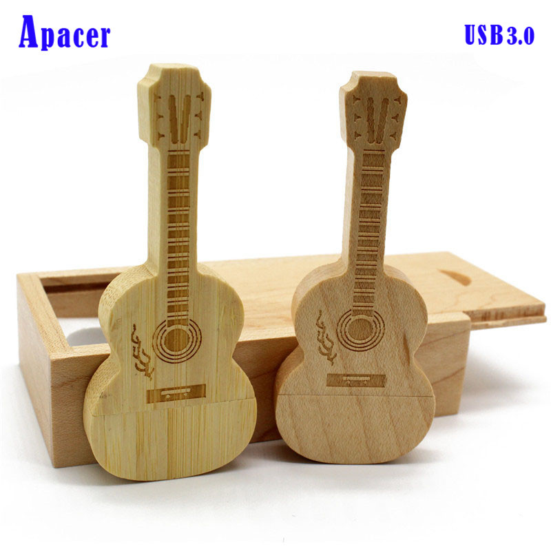 Apacer wooden guitar+Box usb3.0 pen drive 4GB 8GB 16GB 32GB wooden guitars model usb flash drive memory Stick ...