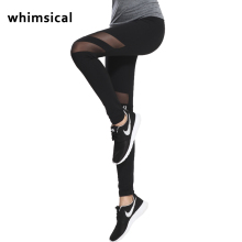Whimsical Women Yoga Pants Hollow Out Net Yarn Splicing Yoga Capris for Running Sport Quick-drying Fitness Tights Woman Legging