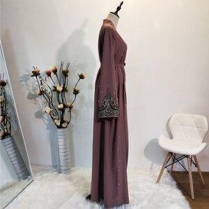 Image 3 - Ramadan Abayas For Women Muslim Hijab Dress Caftan Kimono Cardigan Abaya Kaftan Dubai Qatar UAE Oman Robe Femme Islamic Clothing