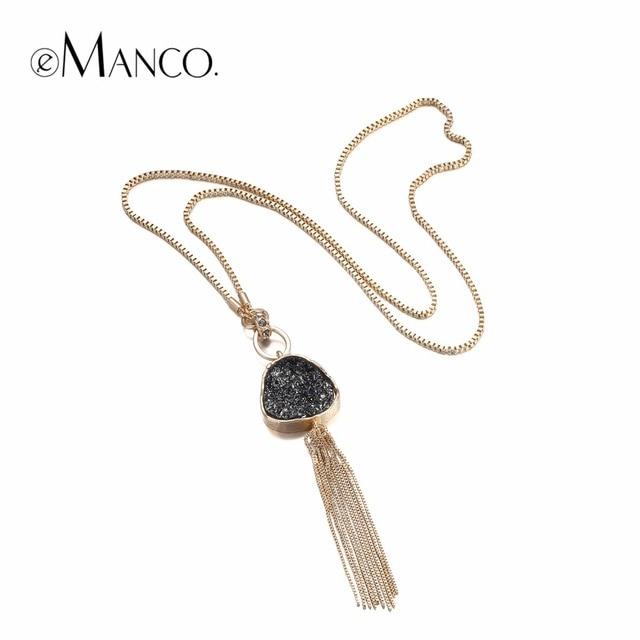 eManco Мода Горячие Теперь кисточкой цепи Заявление ожерелье & Кулон Женщины черный Имитация камень Смола Позолоченные ювелирные изделия Марка