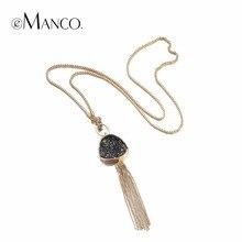 eManco Fashion Hot Now Tassel Statement Chain Necklace Pendant Women Black Imitation Stone Resin Gold Plated