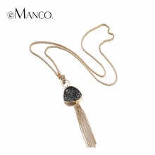 eManco Fashion Hot Now Tassel Statement Chain Necklace Pendant Women Black Imitation Stone Resin Gold color