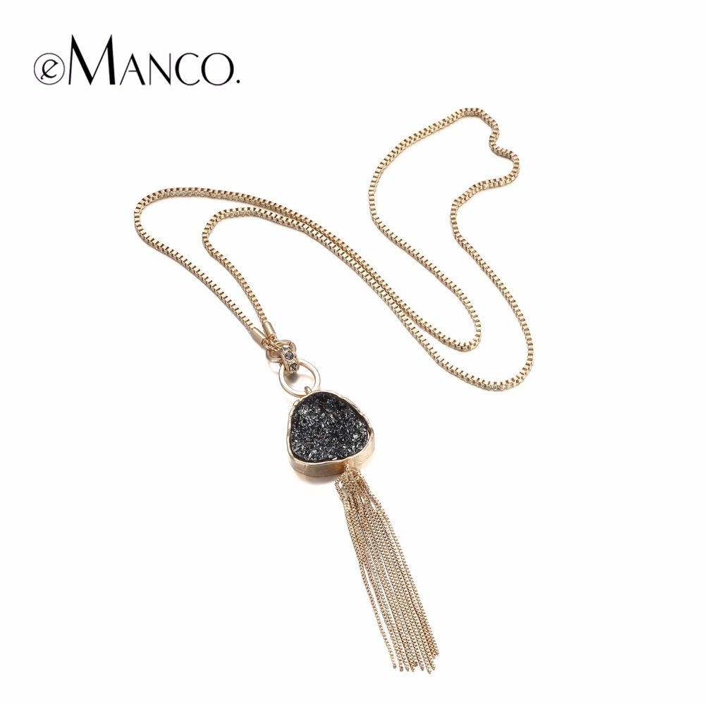 eManco Fashion Hot Now Tassel Statement Chain font b Necklace b font font b b font