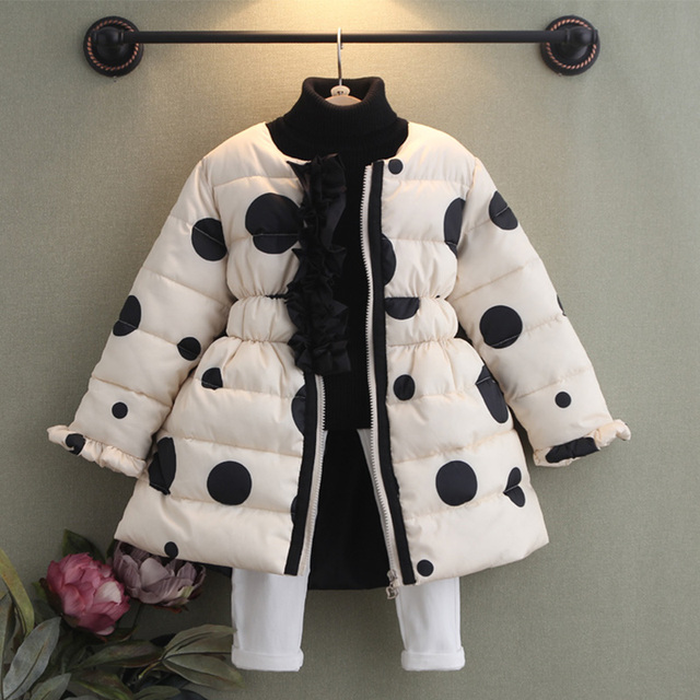 Девочка горошек ватные куртки 2016 осень зима детская одежда ребенка утолщение верхней одежды девушка пальто