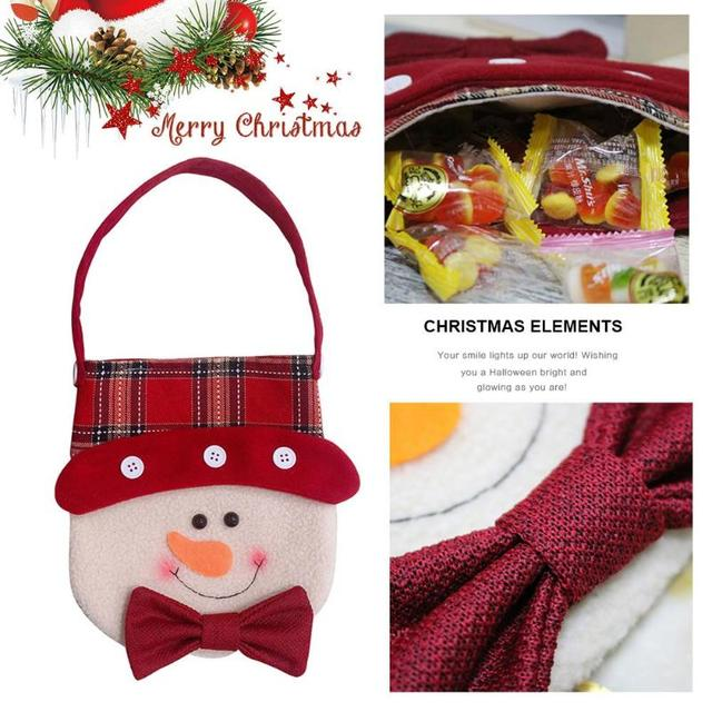 2018 Red Colorful Christmas Tree Santa Claus Snowman Pattern Candy Bag Handbag Home Party Decoration Gift Bag Christmas Supplies