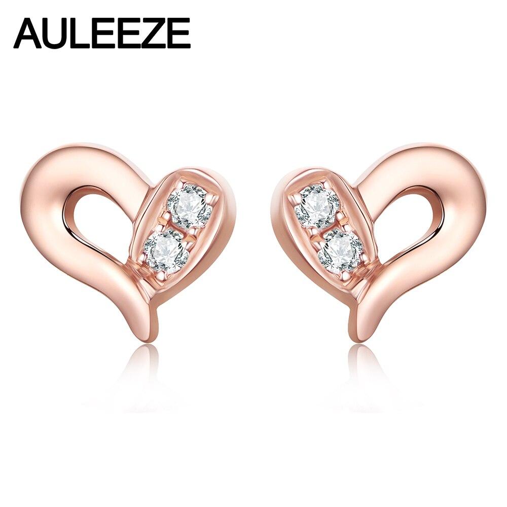AULEEZE Real 18K Gold Diamond Earrings Heart Shape 18K Rose Gold Stud Earrings Natural Diamond Love Design For Woman
