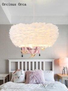 Image 4 - Iskandinav karikatür kristal kuş tüy avize çocuk odası yatak odası Modern basit rüya LED beyaz tüy avize