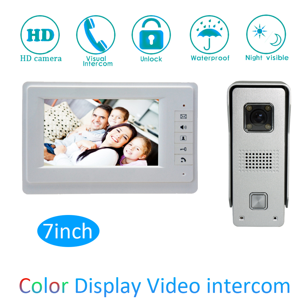 (1 set) Video Door Phone Talkback 7 inch Screen Door Access Intercom 1 To 1 Door Bell video Intercom Night Version Free Shipping цена