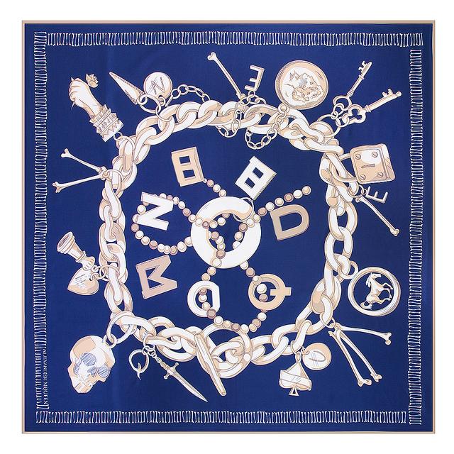 Silk Square Scarf.  Chain Skull Print