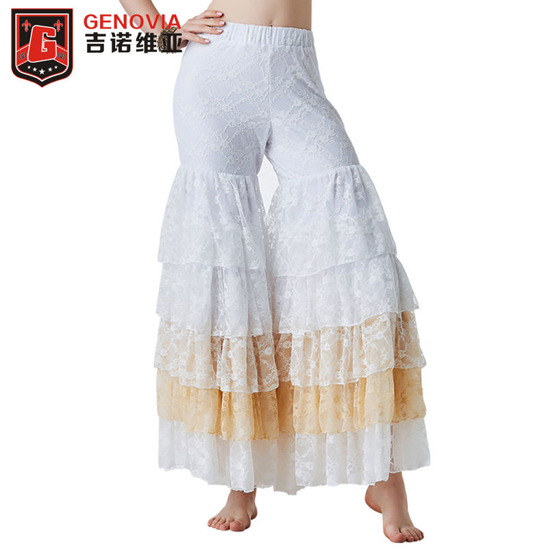 Belly Dance Gypsy Tiered Ruffle Pants Yoga Harem Trousers Flamenco Pants Bollywood Dancing Tribal Pantalon Costume