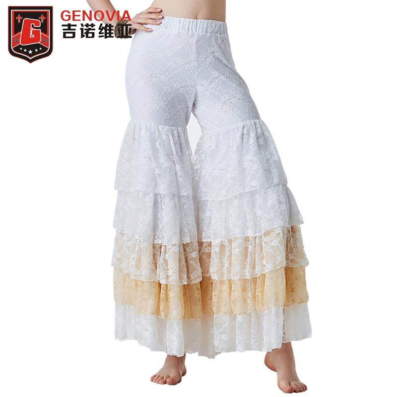 Belly Dance Gypsy Tiered Ruffle Pants Yoga Harem Trousers Flamenco Bollywood Dancing Tribal Pantalon Costume