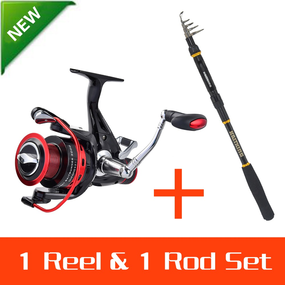 KastKing 1.8-3.6M Strong Carbon Telescopic Fishing Rod with 3000 Series Sea Fishing Spinning Reel Rod Combo Fishing Set