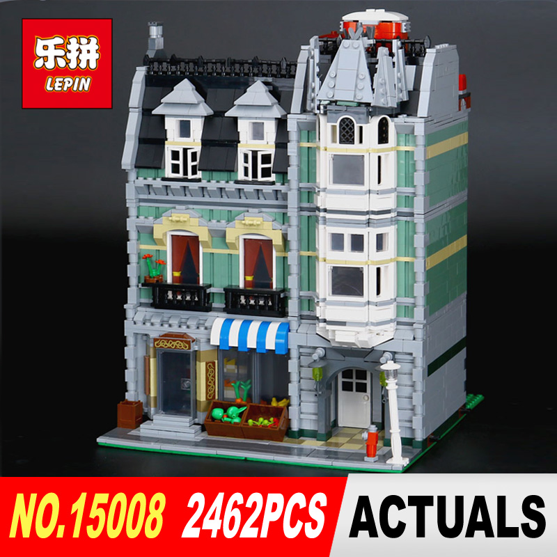DHL Lepin15008 2462Pcs City Street Green Grocer Model Building Kits Blocks Bricks Compatible Educational toy 10185 Children Gift lepin 15009 city street pet shop model building kid blocks bricks assembling toys compatible 10218 educational toy funny gift