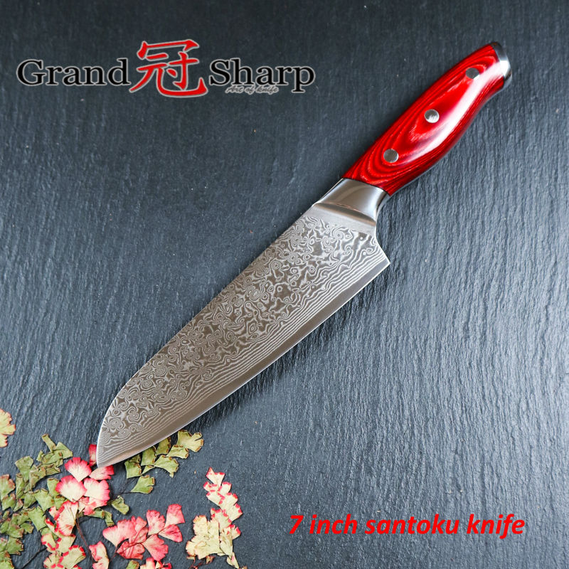 GRANDSHARP Damascus Steel Knife 67 Layers Japanese Damascus Steel Japanese Damascus Kitchen Knife Santoku 7 Inch