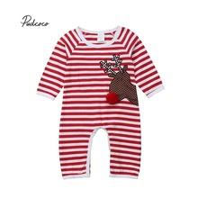 70e024cdf5e Pudcoco Xmas Elk Romper Newborn Baby Boy Girl Christmas Stripe Long Sleeve  Jumpsuit Outfit 2018 New