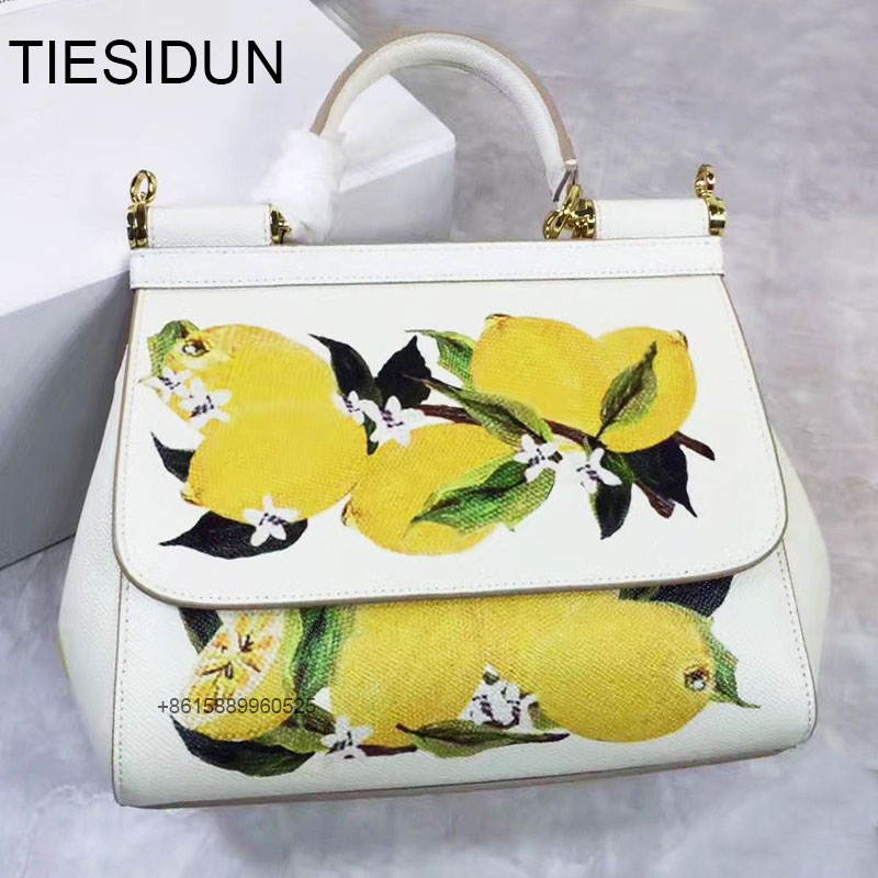 top quality lemon print Sicilian female leather handbag platinum bag shoulder M