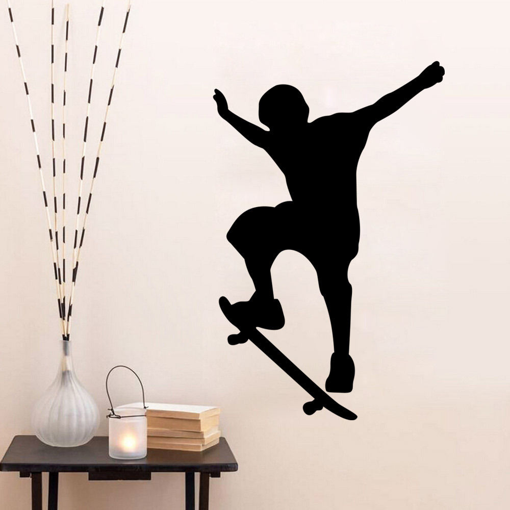 Wall Decal Black Men SKi Sport Wall Sticker Quotes Home Decor Removable Sticky Vinyl Adesivo De Parede Art Bedroom Mural LA058