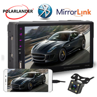 7 Touch Mirror Link Screen 2Din Car Radio Bluetooth Hands Free FM/TF/USB Rear View Camera Mirror For Android Phone 9 languages