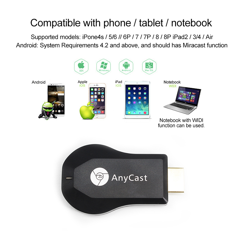 VERI AnyCast M4 Plus Wireless WiFi Display Dongle Receiver 1080P HD Interface TV Stick DLNA Airplay Miracast for Smart Phones