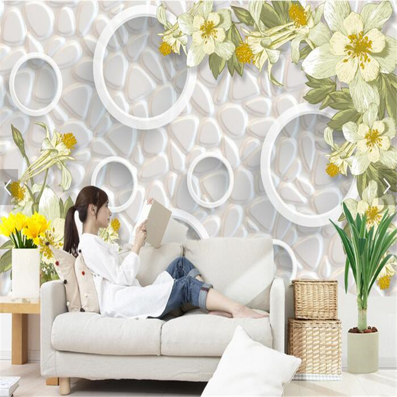 Beibehang Papel De Parede Custom Wall Paper Wall Stickers Large Fresco Relief Flowers TV Backdrop Wallpaper For Walls 3 D
