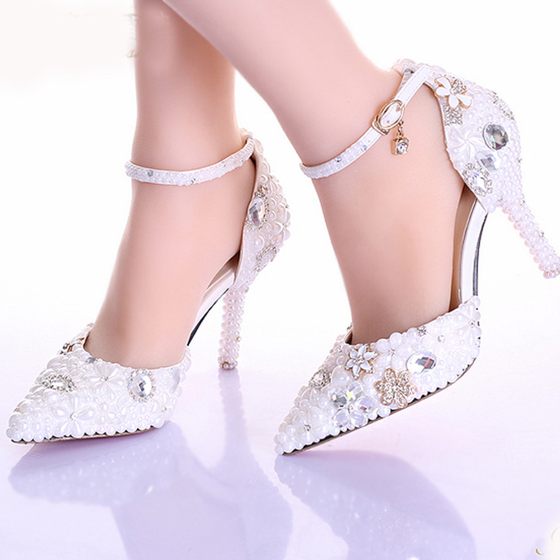 White 9cm Luxury  Formal Dress Shoes Evening Bridal Shoes Pumps Rhinestone Pearl Wedding Dress Shoes Pointed Toe Stiletto Heels 2016 white pearl 4 inches stiletto heel bridal dress shoes formal dress high heels pointed toe wedding banquet party prom shoes