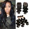 Лучшие Продажи Камбоджийских Virgin Hair With Lace Closure 7А Камбоджийский девы Волос Объемной Волны С Закрытием Дешевые Человеческих Волос С закрытие