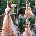 2017 el último diseño de dos piezas a line vestidos de baile con cuentas con gradas peach prom dress light pink a medida sin mangas del tanque largo Prom