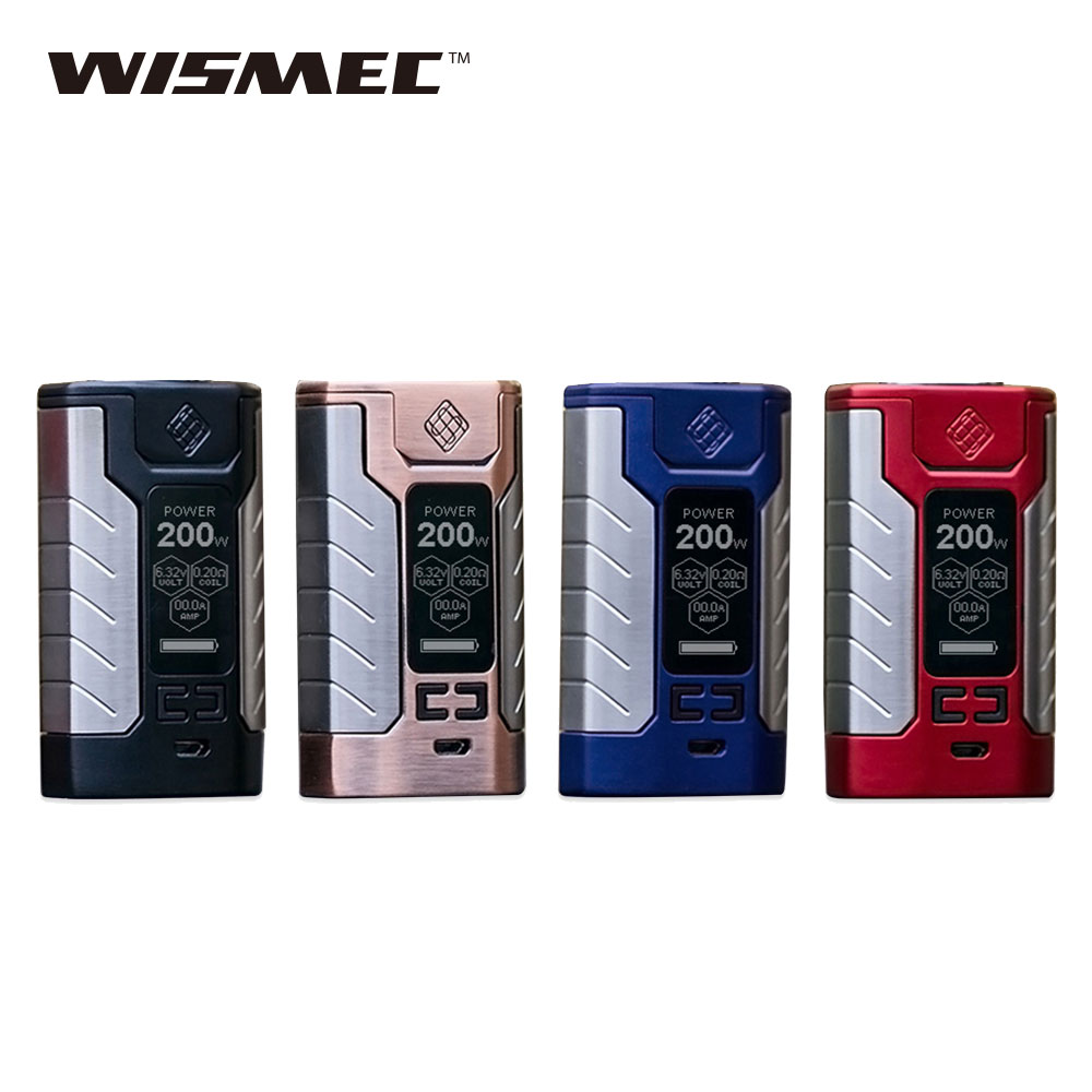 200W Original WISMEC SINUOUS FJ200 TC Box MOD 4600 mAh Built-in Battery Mod 1.3-inch OLED screen fit Divider Tank E cig Vape Mod