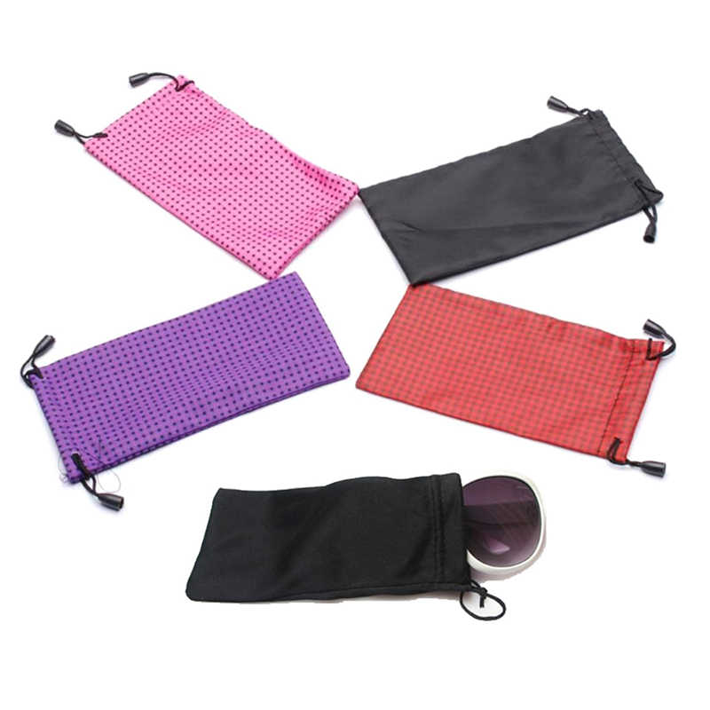 18 * 9cm Waterproof Dustproof Sunglasses Pouch Optical Glasses Carry Bag Cloth Dust Pouches Random Color