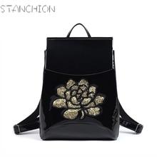 Стойки из искусственной кожи рюкзак женщин Глянцевая Вышивка Винтаж Bagpack новые школьные сумки для geenage девочек