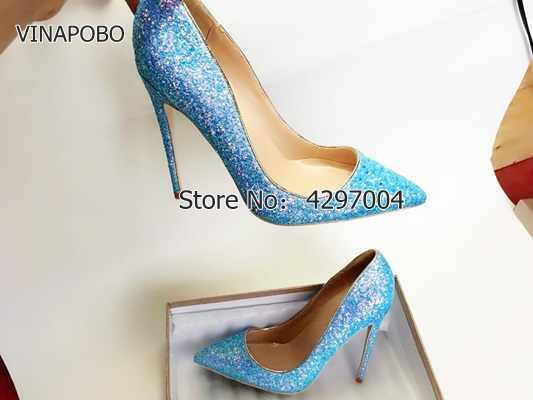 VINAPOBO 2018 new summer pumps sexy high heels slip-on Stiletto glitter  sequined shiny cloth 230e363a1d55