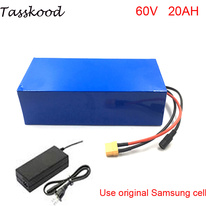 No taxes 60v electric bike lithium ion battery 60V 20AH 2000W Samsung Electric Bicycle Battery pack with 30Amp BMS and charger diy 24v 20ah electric bike battery 500w electric bicycle lithium ion battery with bms charger 24v li ion scooter battery pack