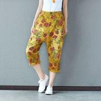 Women Print Floral Pants Vintage Pockets Cotton Trouser 2019 Summer New Casual Elastic Waist Women Pants