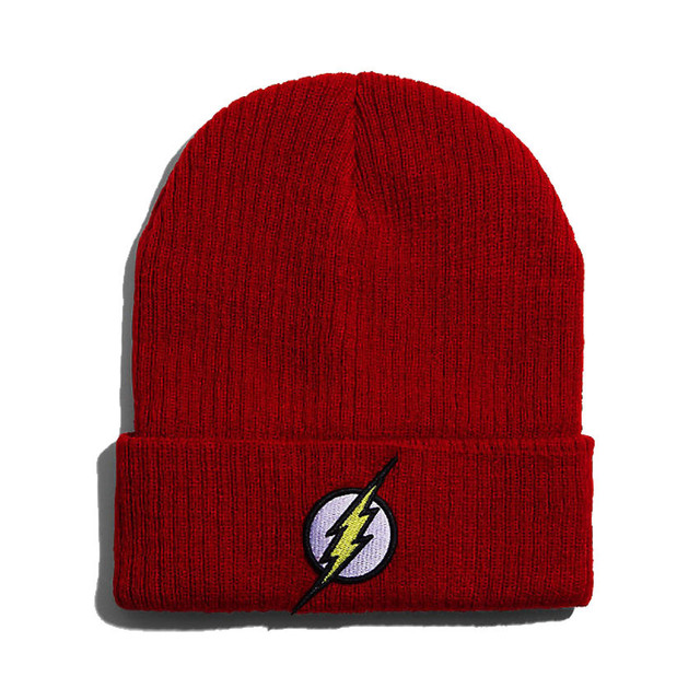 22a74001049443 Men Women Winter Warm Beanie Hat Flash Hero Soft Red HipHop Warm Knitted  Red Caps Hat