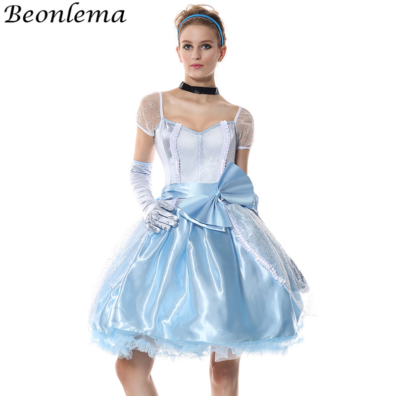 Beonlema Anime Princess Role Playing Vestidos Cosplay Sweet Grace Ladies Dress Carnival Party Sky Blue Femme Bow Lace Dresses