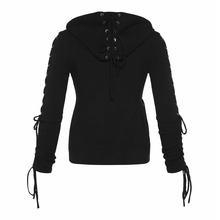 Rosetic Gothic Punk Women Hoodies Lace up Hooded Long Sleeve Casual Harajuku Darkness Autumn winter Goth Black Sweatshirt