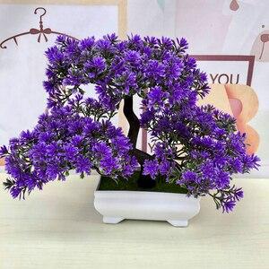 Image 4 - Gorące sztuczne kwiaty powitanie sosna Bonsai symulacja kwiaty ozdobne i wieńce fałszywe zielone rośliny doniczkowe Home Decor