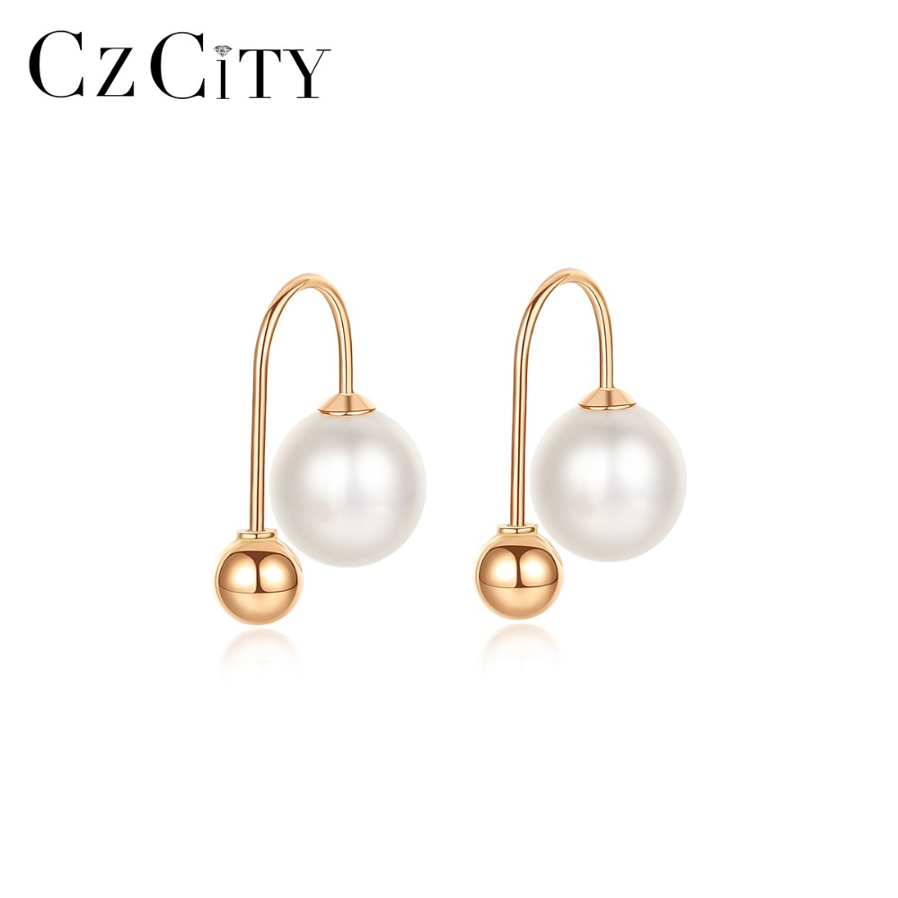 CZCITY Real 18K Gold Round Ball 6-7mm Natural Freshwater Pearl Drop Earrings For Women Rose Gold Colors Wedding Earrings Jewelry