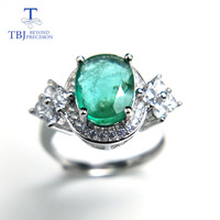 TBJ,100% natural emerald ring in 925 sterling silver with gift box,elegant vintage aulic rings with emerald gemstone rings