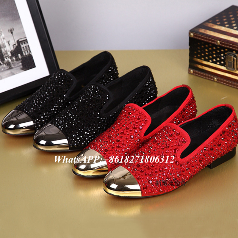 Chaussure Homme Black Red Slip On Driving Shoes Man Metallic Golden Toe  Rhinestone Crystal Studded Flat ae4b4997c06e