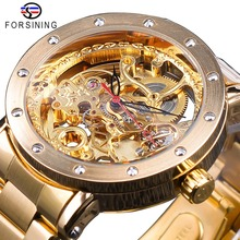 Forsining 2019 Fashion Full Golden Clock Flower Transparent Watches Black Red Pointer Men's Automatic Watches Top Brand Luxury forsining brown leather belt golden bezel transparent case steampunk double sided hollow men automatic watches top brand luxury