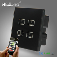 Android IOS WIFI 4 Gang Swith Wallpad Black Crystal Glass Switch LED WIFI 4 Gang 2