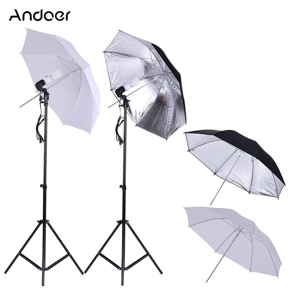 Andoer Photo Studio Umbrella Lighting Kit w 2m Light Stands 45W 5500K Photo Lamp Bulb 83cm