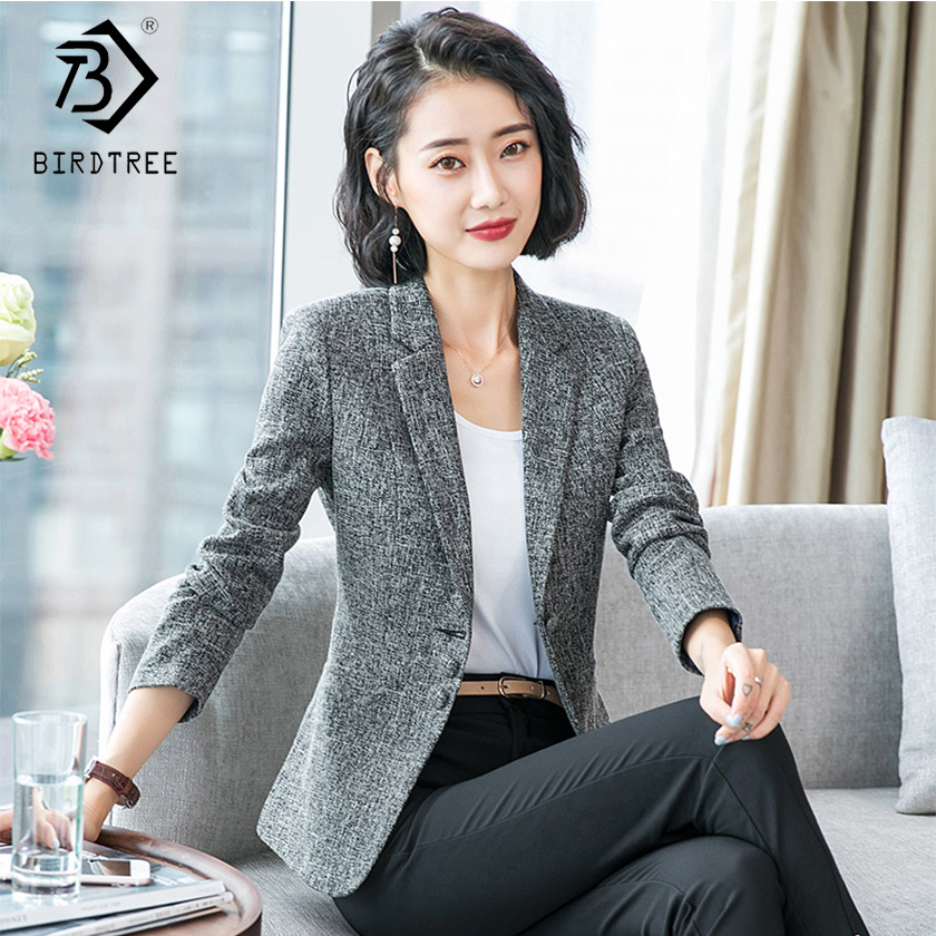 2018 New Arrival Autumn Winter Women Solid Blazers Elegance Fashion Notched Pockets Full Sleeve Single Button Slim Hot C80316L