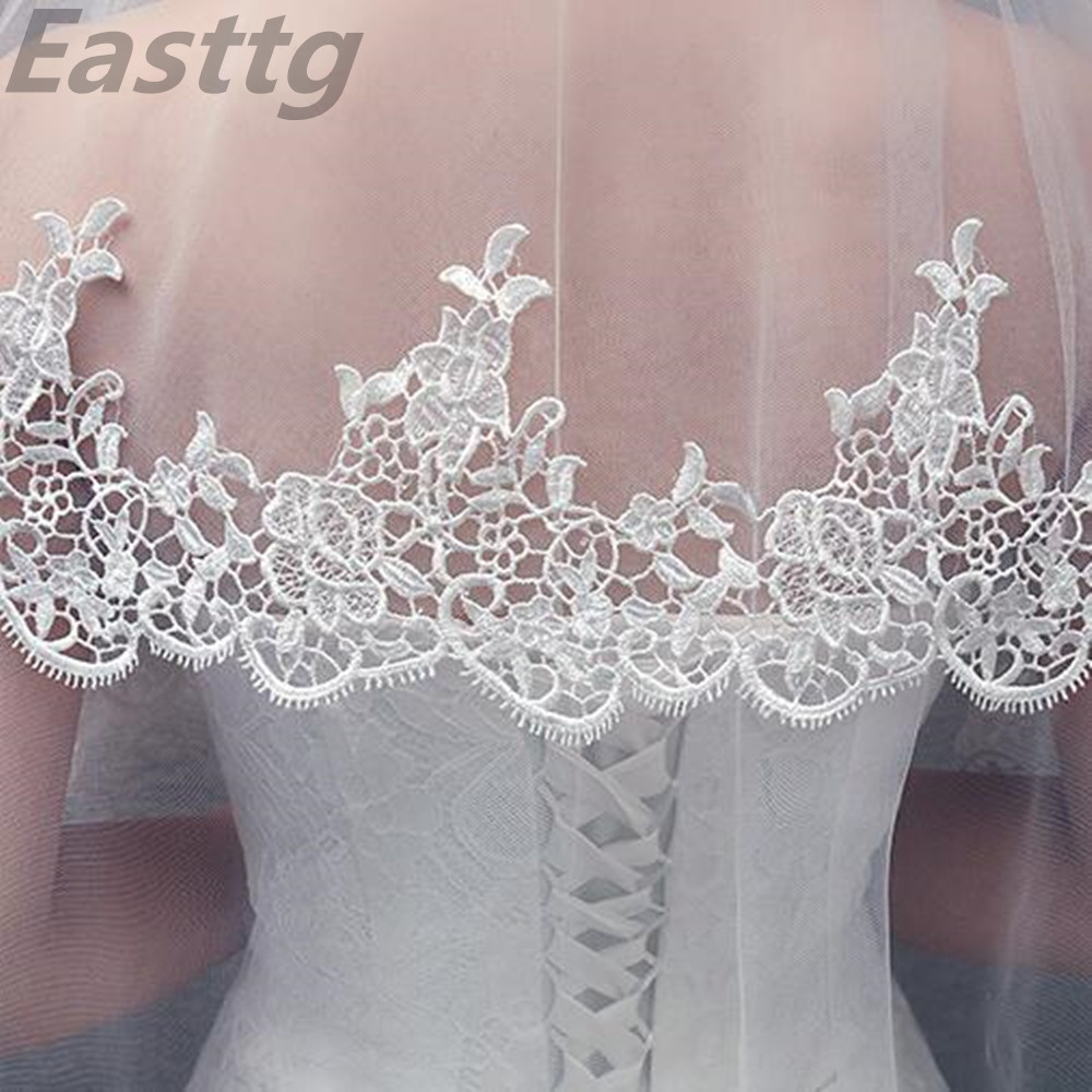 White Ivory Hot Sale 2019 Wedding Veil Lace Fingertip Long wedding accessories  Cheap Voile Bridal Veils With Comb
