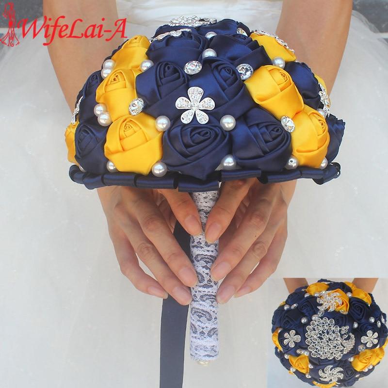 WifeLai A Gorgeous Diamond Brooch Silk Wedding Bridal Artificial Flowers Navy Blue Yellow Color Brooch Wedding