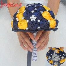 WifeLai ゴージャスダイヤモンドブローチシルクウェディングブライダル人工花ネイビーブルー黄色ブローチ結婚式のブーケ W231 1
