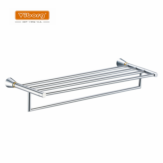 VIBORG Luxury Brass Wall Mounted Bathroom Towel Rack Shelf Towel Bars Holder Storage, chrome+24k gold, BA-NN02 ключ гаечный комбинированный 24х24 aist 010130as 24 мм