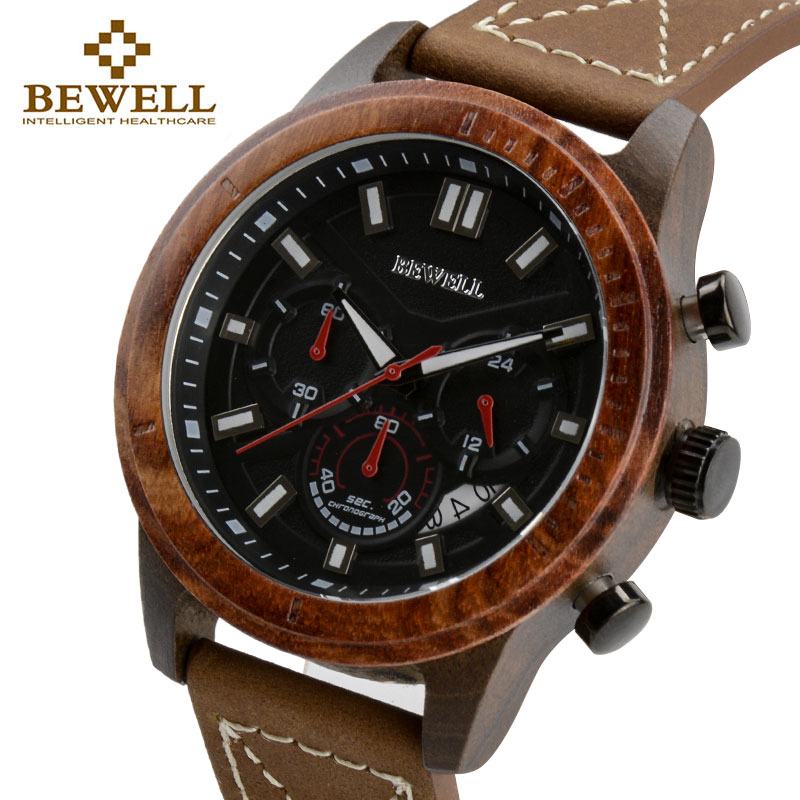 Men Luxury Waterproof Quartz Watch Wood Case Leather Strap With Chronograph And Calendar Functions Luminous Hands