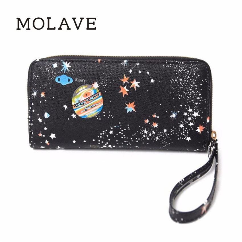 MOLAVE walletswallet female Solid coin purse PU Leather Women Printing Zipper Coin Purse Long Wallet Card Holders Handbag Feb11 wallet female long zipper womens wallets and purses fashion solid genuine leather female wallet hasp women wallets coin purse